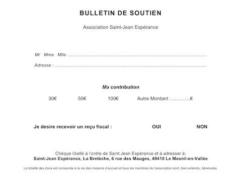 Bulletin de soutien